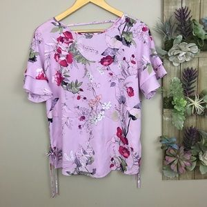 Maurices floral bell layered sleeve tie sides Top